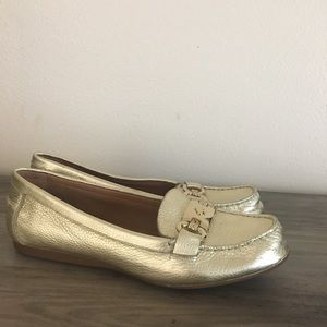 40dade2f54c kate spade · Kate Spade Carson Gold Loafers ...